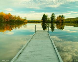 Lake dock in fall